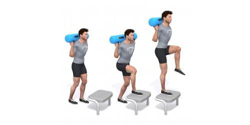 بدنسازی - حرکت ورزشی پله( استپ آپ) زانو بالا، چپ- کیسه آب، جعبه