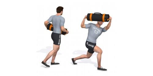 بدنسازی - حرکت ورزشی جهش یک پا پرس، راست- یک کیسه شن